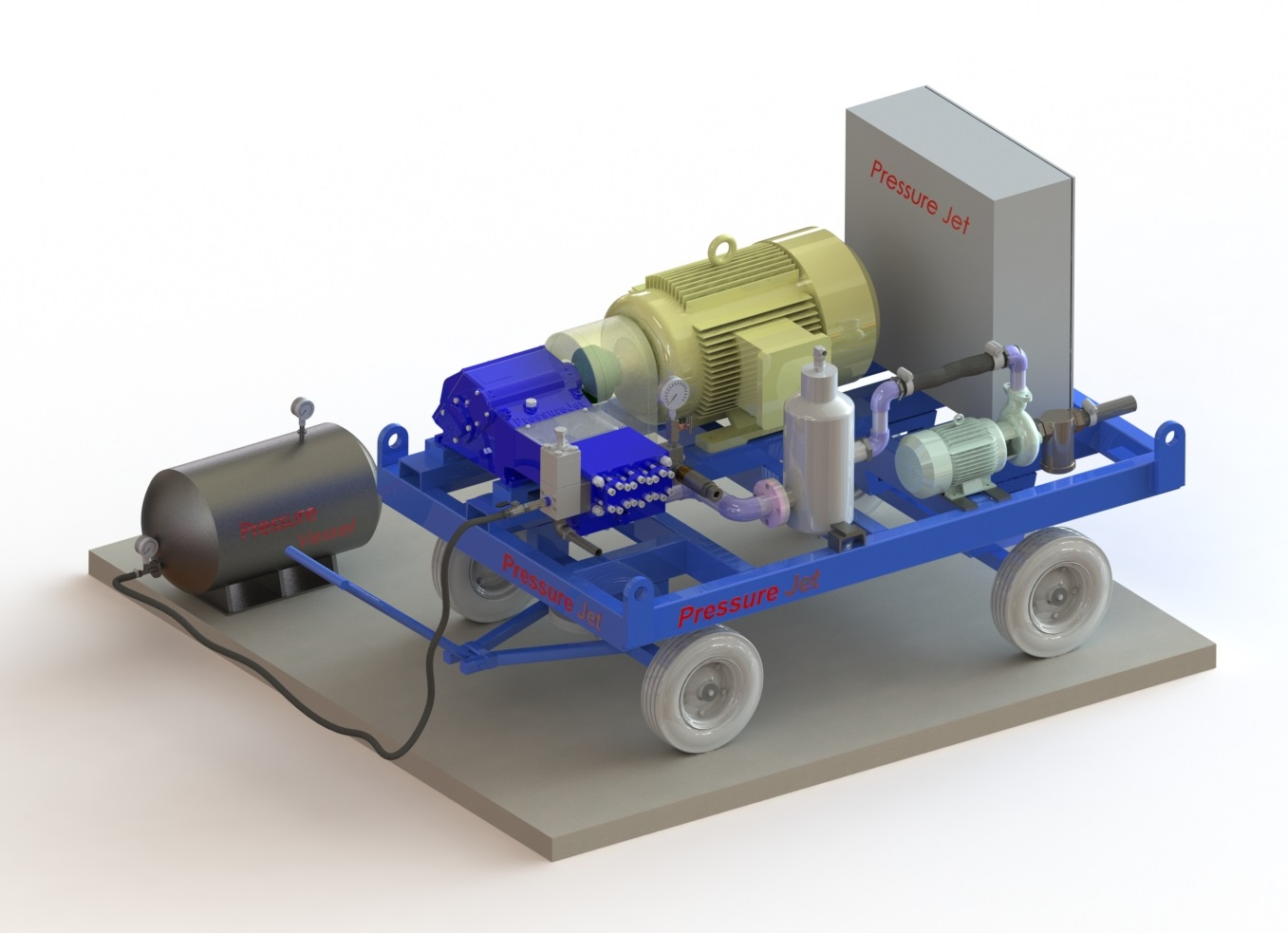 Motorized Hydro Testing Pump 3D Model