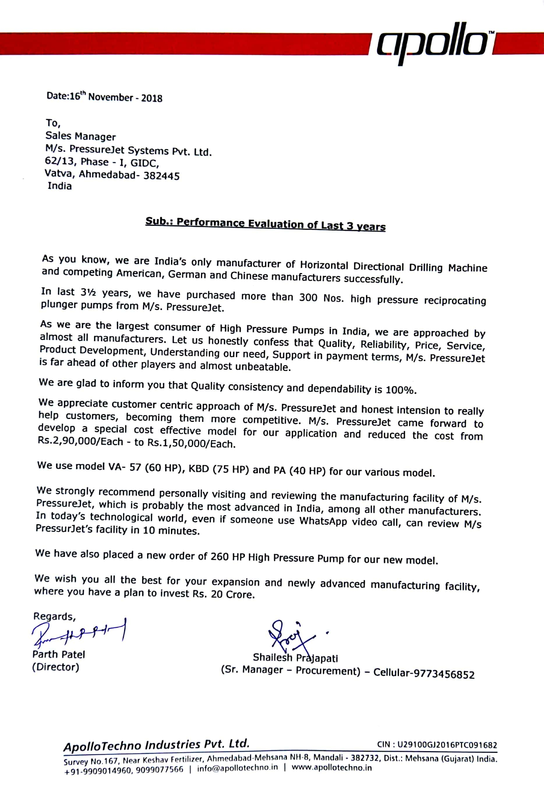 AppoloTechno Industries Pvt. Ltd. (Performance certificate)